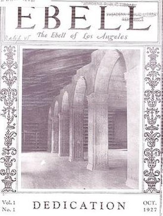 Ebell of Los Angeles - Ebell magazine from 1927 shows the new tile-roofed colonnade walkway.