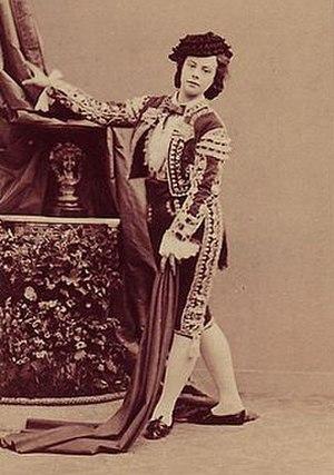 Travesti (theatre) - The ballerina Eugénie Fiocre as a matador circa 1860