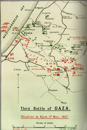 Third Battle of Gaza - Situation at 18:00 1 November 1917