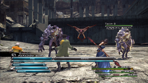 "Final Fantasy XIII - The Final Fantasy XIII battle system, with the ""Paradigm Shift"" option, the Active Time Battle (ATB) bar filling beneath it with five slots and two actions queued, and the three active characters' health and roles displayed. The enemy's name and damage percentage are shown in the upper right corner."