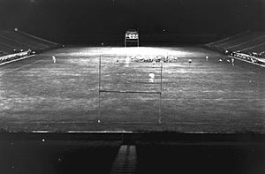 1950 Florida Gators football team - The 1950 Gators practice under the lights before the first night game at Florida Field.