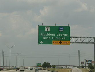 President George Bush Turnpike - A turnoff to the George Bush Turnpike in Irving, Texas from SH 183