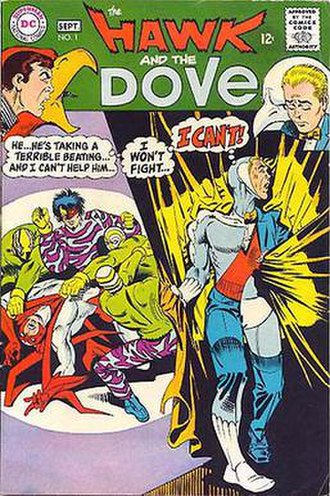 Hawk and Dove - The Hawk and the Dove No. 1 (September 1968). Cover art by Steve Ditko.