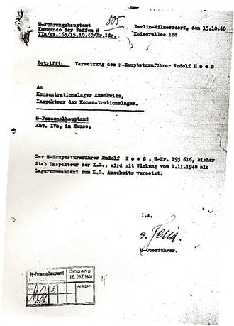 Rudolf Höss - Appointment order of Rudolf Höss as Commander of Auschwitz Concentration Camp