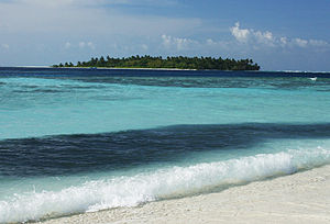 Vaavu Atoll - The uninhabited island of Hulhidhoo as viewed from Thinadhoo
