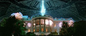 Independence Day (1996 film) - The shot of the White House's destruction was the focus of the film's marketing campaign. A fleeing helicopter was added to the shot in the final print.