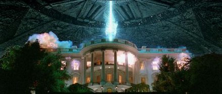 The shot of the White House's destruction was the focus of the film's marketing campaign. A fleeing helicopter was added to the shot in the final print. Id4whitehouse.jpg