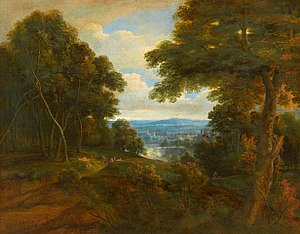 Jacques d'Arthois - Image: Jacques d'Artois An Extensive Wooded Landscape with Travellers on a Path