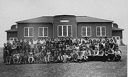 The Jefferson School classes in the 1940s.  This building was condemned and deliberately burned to the ground in April 2007.