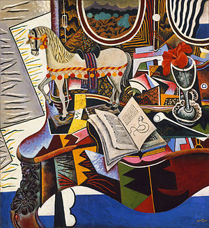Joan Miró - Joan Miró, Horse, Pipe and Red Flower, 1920, oil on canvas, 82.6 × 74.9 cm, Philadelphia Museum of Art