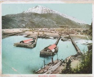 Shootout on Juneau Wharf - The four docks in Skagway. Juneau Wharf is the second from the left.
