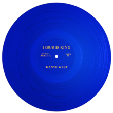 "A blue LP vinyl with yellow lettering of the ""Jesus Is King"" album."