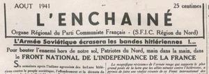 L'Enchaîné du Nord et du Pas-de-Calais - Image: L enchaine du nord et du pas de calais August 1941 masthead