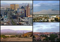 The Las Vegas Valley; From top left to bottom right: Las Vegas Strip (Paradise, Nevada and Winchester, Nevada), Las Vegas, North Las Vegas, and Henderson