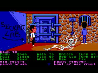 LucasArts adventure games - Maniac Mansion (1987) introduced SCUMM, the engine behind most of LucasArts' adventure games