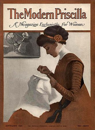 """Margaret Fitzhugh Browne - Cover illustration by Browne for The Modern Priscilla: A Magazine Exclusively for Women, September 1909. This work epitomizes Browne's """"Old Maid"""", Victorian values"""
