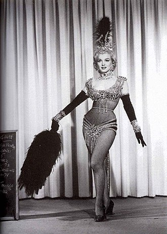 """Marilyn Monroe's pink dress - Image: Marilyn Monroe wearing her original costume for the musical number """"Diamonds are A Girl's Best Friend"""""""