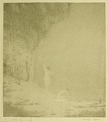 Tonalist lithograph by Bolton Brown depicting female nudes bathing by moonlight
