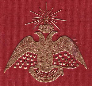 Scottish Rite - The double-headed eagle on the cover of Morals and Dogma.