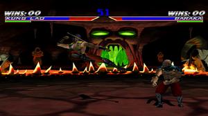 Mortal Kombat Gold - Kung Lao fighting against Baraka