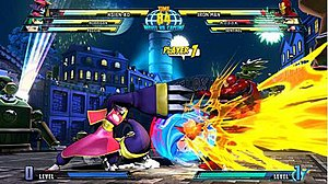 Marvel vs. Capcom - A screenshot from Marvel vs. Capcom 3: Fate of Two Worlds, featuring Hsien-Ko, Felicia and Iron Man.