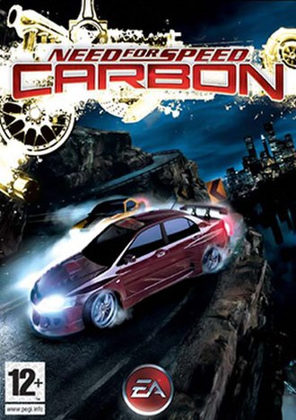 Need for Speed: Carbon - European cover art featuring a Mitsubishi Lancer Evolution IX and a Dodge Challenger drifting through the corner