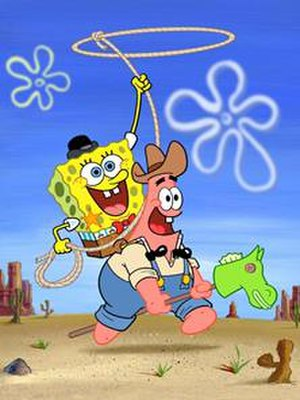 Pest of the West - Promotional artwork for the episode depicting SpongeBuck SquarePants and Pecos Patrick Star playing in a Western desert in Dead Eye Gulch.