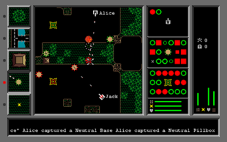 Bolo (1987 video game) - Alice is attempting to capture the enemy pillbox centered under her X cursor, mid-screen. To do so in safety, she has planted two of her own pillboxes in front of it, which are absorbing the return fire. Jack responds by shooting one of his own pillboxes, making it angry so it shoots more frequently. If Alice approaches to pick up the captured pillbox, Jack's now-angry pillbox will immediately attack.