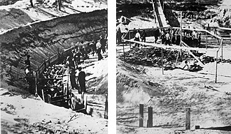 Ponary massacre - One of six Ponary murder pits in which victims were shot (July 1941). Note the ramp leading down and the group of men forced to wear hoods.