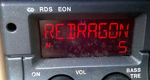 Capital South Wales - Red Dragon displayed on a RDS car radio