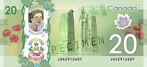 Commemorative banknotes of the Canadian dollar - The obverse (top) and reverse (bottom) of the banknotes commemorating Elizabeth II becoming the longest-reigning monarch of the United Kingdom and Canada.