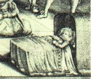 Sophia of England - Detail from a 1625 engraving of King James and his family showing a baby in a cradle