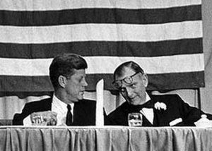 Albert Richard Thomas - President John F. Kennedy shares a moment with U.S. Rep. Albert Thomas at the Houston dinner honoring the congressman on November 21, 1963. Photo by Houston Chronicle