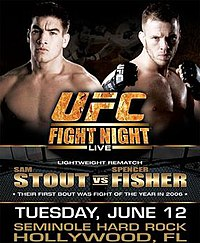 A poster or logo for UFC Fight Night: Stout vs Fisher.
