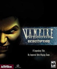 The cover art depicts the face of a vampire shrouded in shadow, baring his teeth.