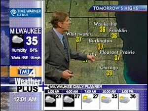 NBC Weather Plus - Local version of NBC Weather Plus from Milwaukee's WTMJ-TV, showing an ad in the top-left corner, local branding above the Weather Plus logo, and time in the bottom-left.