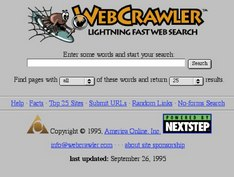 Webcrawler screenshot 1995