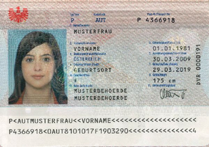 Austrian passport - The data page of an Austrian biometric passport (2006)