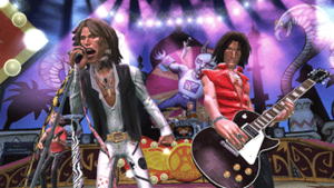 Guitar Hero: Aerosmith - Members of the band Aerosmith, including Steven Tyler (left) and Joe Perry (right) performed motion capture in order to create their digital likeness for the game.