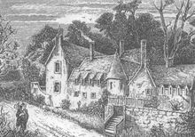 drawing of rickety old house with man walking on path