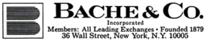 Bache & Co. - Bache logo, ca. 1969