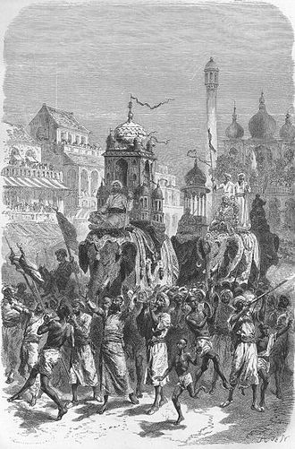 Bhopal State - A procession of Shia Muslims in Bhopal in the Mughal Empire.
