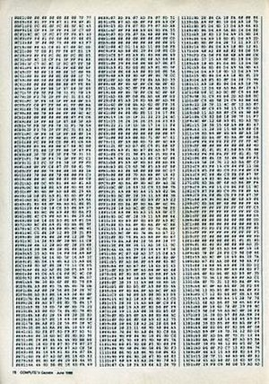 Type-in program - An example of hexadecimal MLX type-in program code as printed in a Compute!'s Gazette magazine.