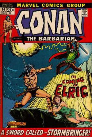 Elric of Melniboné - Conan the Barbarian No. 14 (March 1972), Elric's first appearance in comics. Cover art by Barry Windsor-Smith