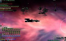 A black spaceship backlit by a pink cloud in space. Several other ships gather in the distance.