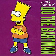 "An animated image showing a yellow child with a short sleeved red shirt and blue pants opening his mouth. On the green coloring there is the writing ""Do the Bartman"" sideways in large capital letters and ""the Simpsons"" written on the top of the song title."