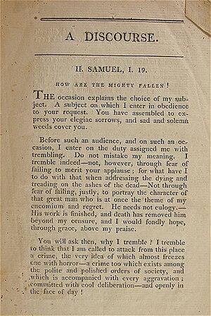 Eliphalet Nott - Image: Eliphalet Nott Sermon Death Of Alexander Hamilton Partial Text 1809