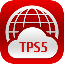 "A logo consisting of a red background bearing a white wireframe globe, the bottom half of which is covered by a white cloud. The cloud bears the letters ""TPS5"" in red."