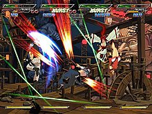 Busy video game screen, with four characters shooting at once