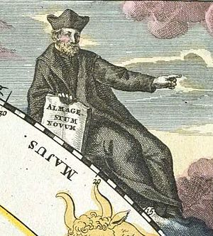 Giovanni Battista Riccioli - Riccioli as portrayed in the 1742 Atlas Coelestis (plate 3) of Johann Gabriel Doppelmayer.
